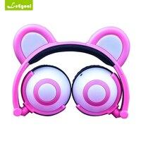 Leegoal Bear Ear Headphones LED Headphone Bear Earphone Foldable Flashing Glowing Headset Gaming Earphones For Adult