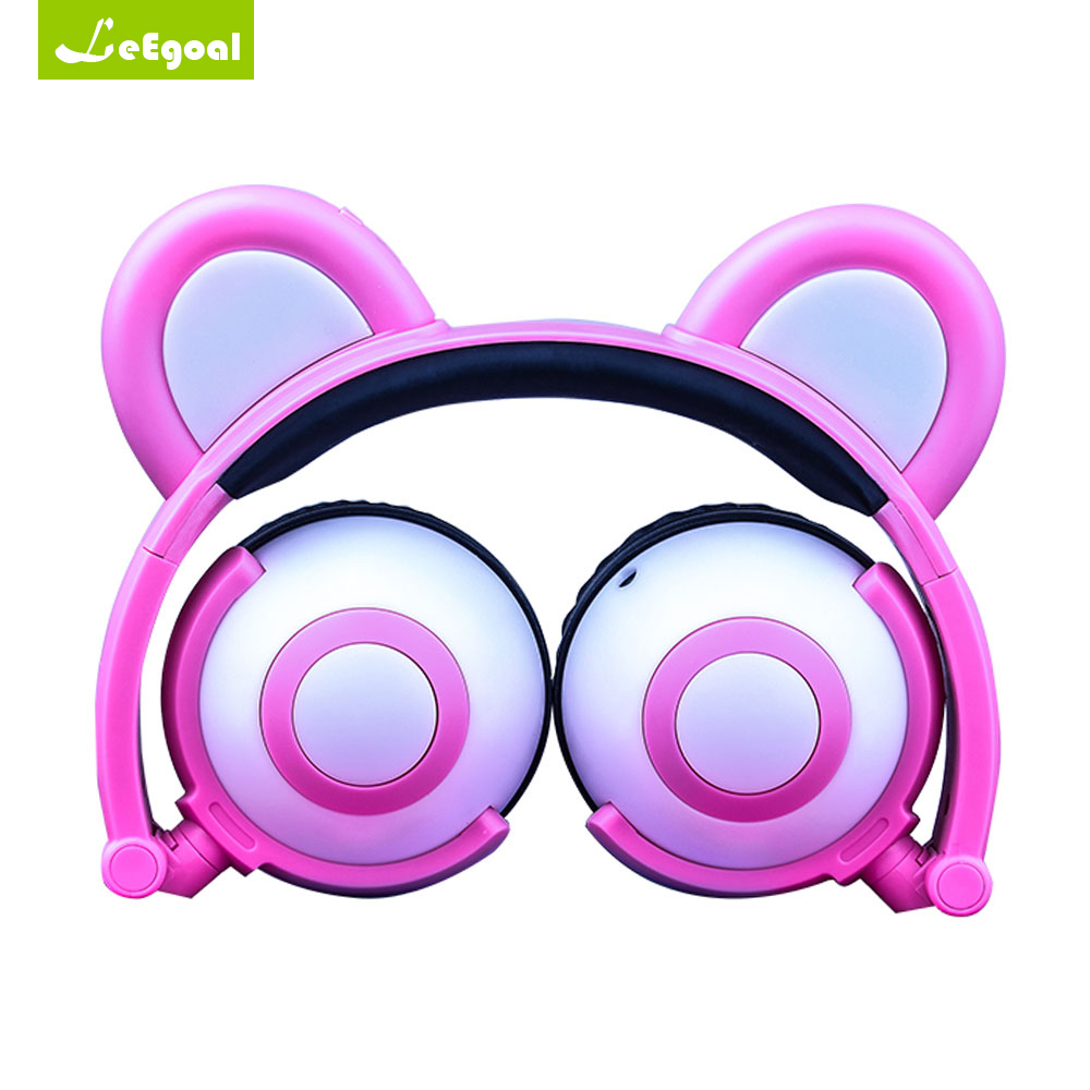 Leegoal Bear Ear Headphones LED Headphone Bear Earphone Foldable Flashing Glowing Headset Gaming Earphones for Adult Children