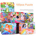 100Pcs Fairy Tales Puzzle iron box wooden Toys Story C jigsaw puzzles children early educational toy