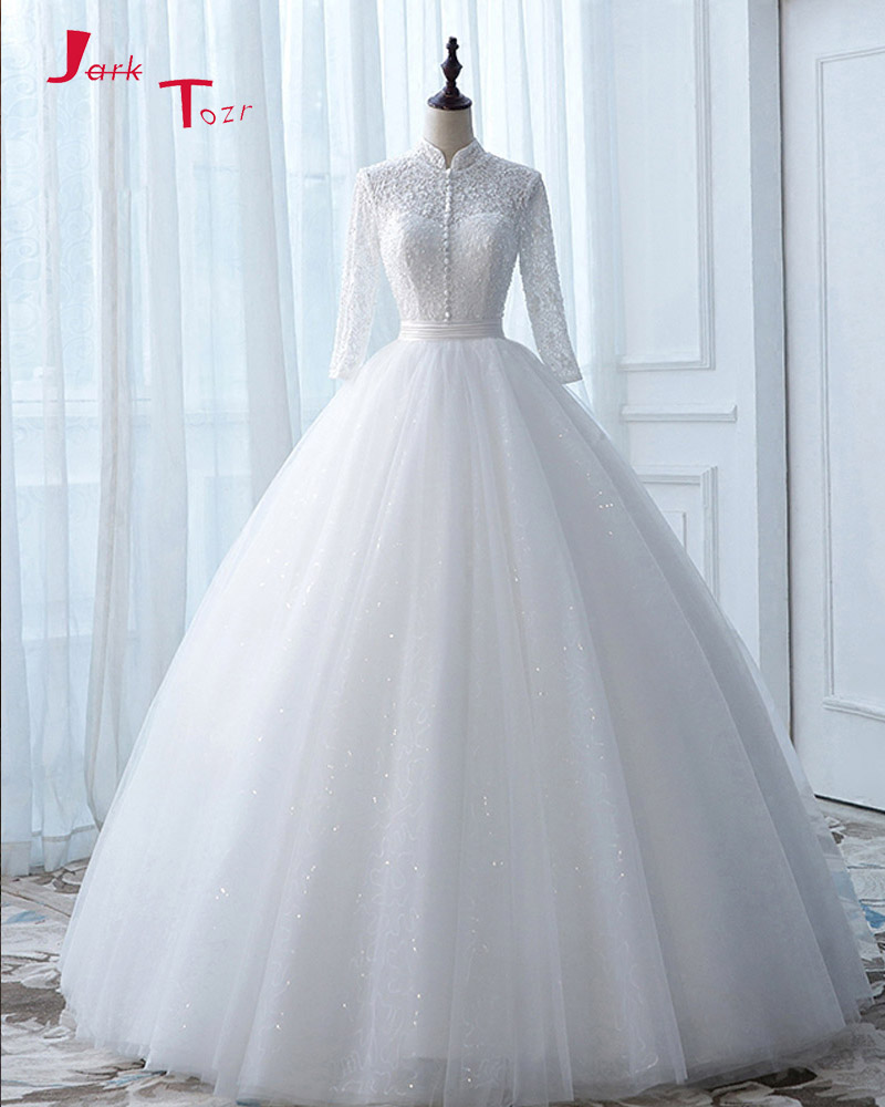 Jark Tozr Custom Made Full Sleeve None Train Wedding Dress Turkey ...