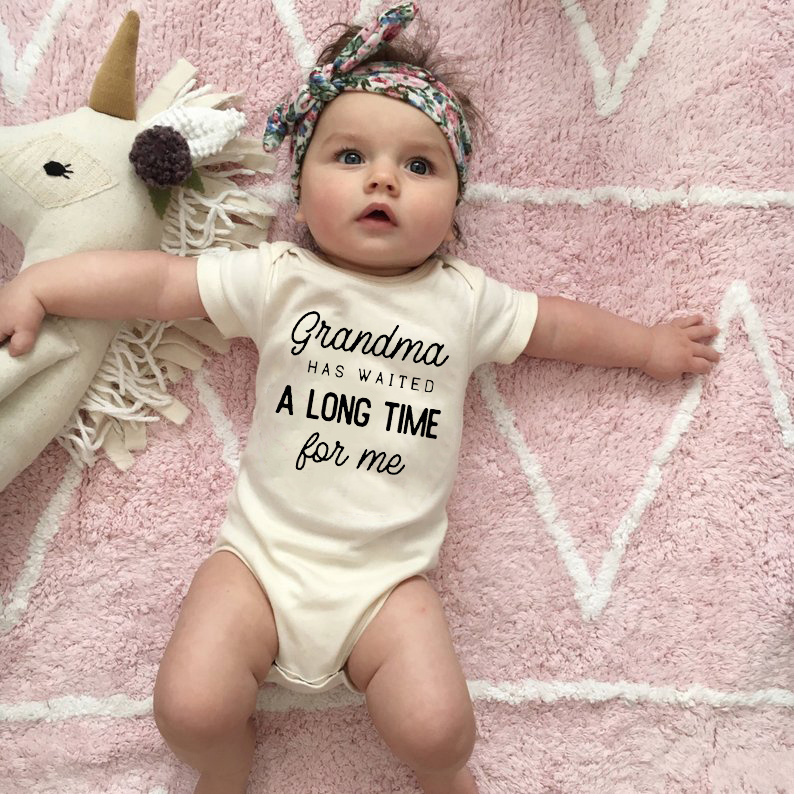 Grandma Waited A Long Time For Me Baby Girls Boys Jumpsuit Newborn Print Bodysuits Summer Kids Cute Clothes 0-24Months