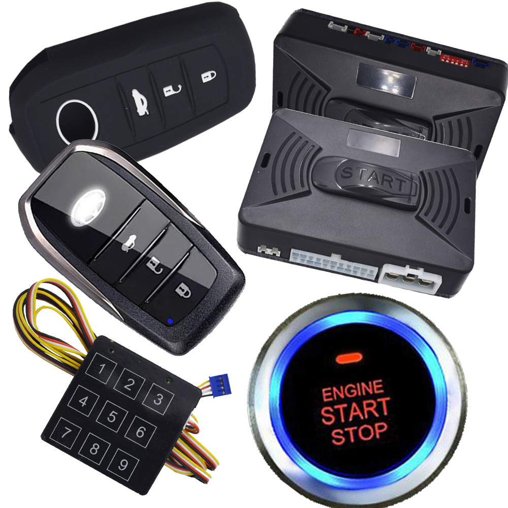 pke smart key ignition start stop button car security alarm system bypass chip key immobilizer output after engine start action smart rfid pke passive car security alarm system with 2pcs smart key remote auto start stop engine button car system alarm
