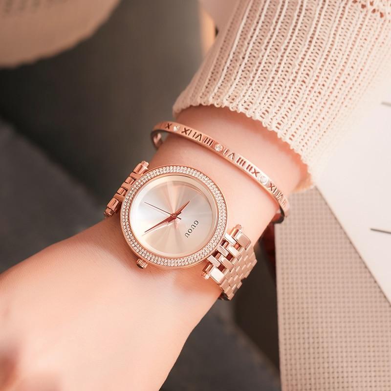 GUOU Personality Women Watches Female Watch 2018 Strap Durable Luxury Diamond Rose Gold Purple Fashion Ladies Watch diamond stylish watches for girls
