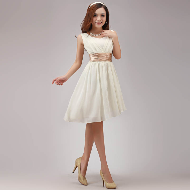 free shipping 2016 new a-line with sashes above knee mini party   dress   formal custommade chiffon white ivory   Bridesmaid     Dresses