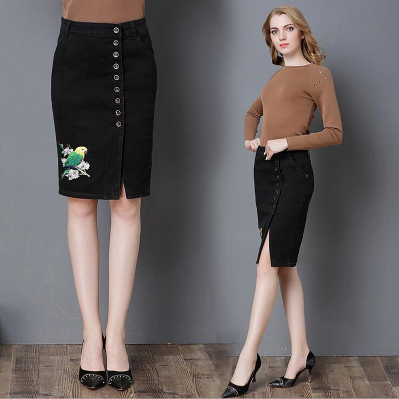 03803d5a3aa VISNXGI New Flower Embroidered Pockets Denim Skirt Women Plus Size Skirts  Womens Vintage Slim High Knee Package Hip Jeans Skirt-in Skirts from Women s  ...