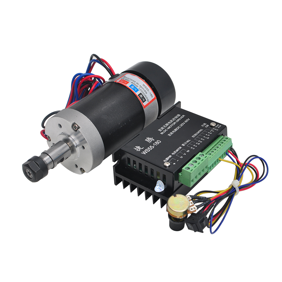 Brushless Spindle 400W Air Cooled Router Motor DC Spindle ER11 With Stepper Motor Driver For CNC Engraver Milling MachineBrushless Spindle 400W Air Cooled Router Motor DC Spindle ER11 With Stepper Motor Driver For CNC Engraver Milling Machine