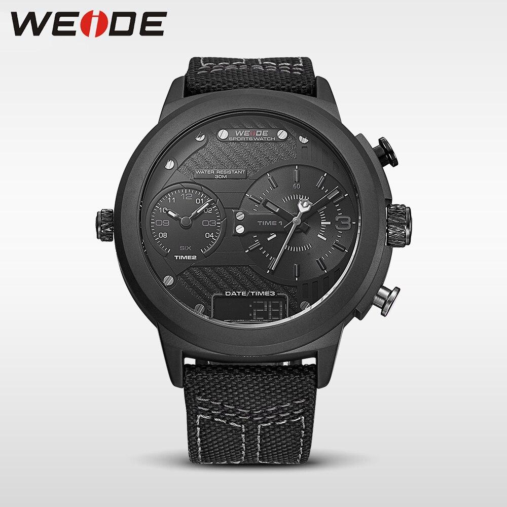 цена на WEIDE 2017 NEW LCD digital sport Black big disc Multi - time zone pocket watch quartz luxury brand analog nylon strap watch box