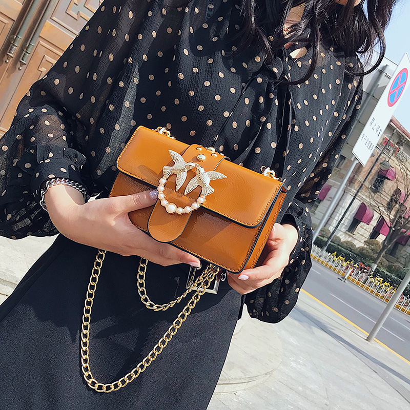 Women Bag Female Handbag High Quality PU Leather Rivet Pearl Chain Flap Shoulder Bag Fashion Crossbody Bag for women Drop ship fashion new design pu leather lotus wave female chain purse shoulder bag handbag ladies crossbody messenger bag women s flap