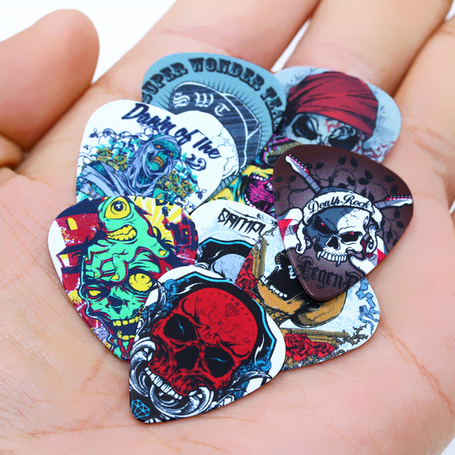 SOACH 10pcs/Lot 0.71mm thick guitar strap guitar parts & accessories personality skeleton skull devil head design guitar picks