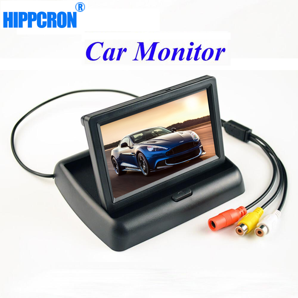 Viecar 4.3'' Car Monitor Parking Reverse Camera Foldable TFT LCD Display Video PAL/NTSC цена