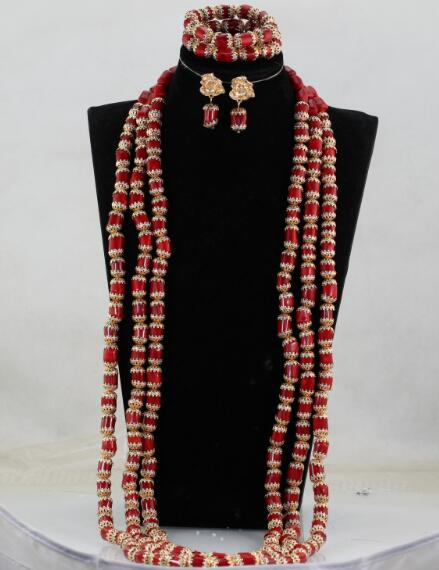 Luxury 3 Layers Red Coral Nigerian Wedding African Beads Jewelry Set 45 inches Gold and Coral Luxury 3 Layers Red Coral Nigerian Wedding African Beads Jewelry Set 45 inches Gold and Coral Long Statement Necklace Set CNR853