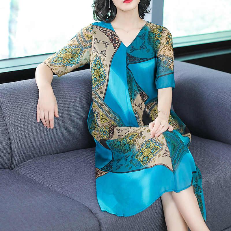 AYUNSUE damska letnia sukienka Slk elegancka dekolt w dużych rozmiarach kwiatowa, w stylu Casual sukienka Midi sukienki Retro plaża Vestidos Verano 2020 KJ1845