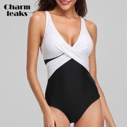Charmleaks feminino uma peça de banho colorblock maiô cruz beachwear monokini biquíni