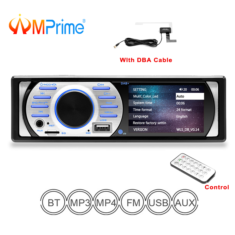 AMPrime Autoradio dab 1 din Car Audio Radio Stereo Multimedia MP3 MP5 Player Bluetooth Radio Car FM Receiver Remote Control tivdio v 116 fm mw sw dsp shortwave transistor radio receiver multiband mp3 player sleep timer alarm clock f9206a