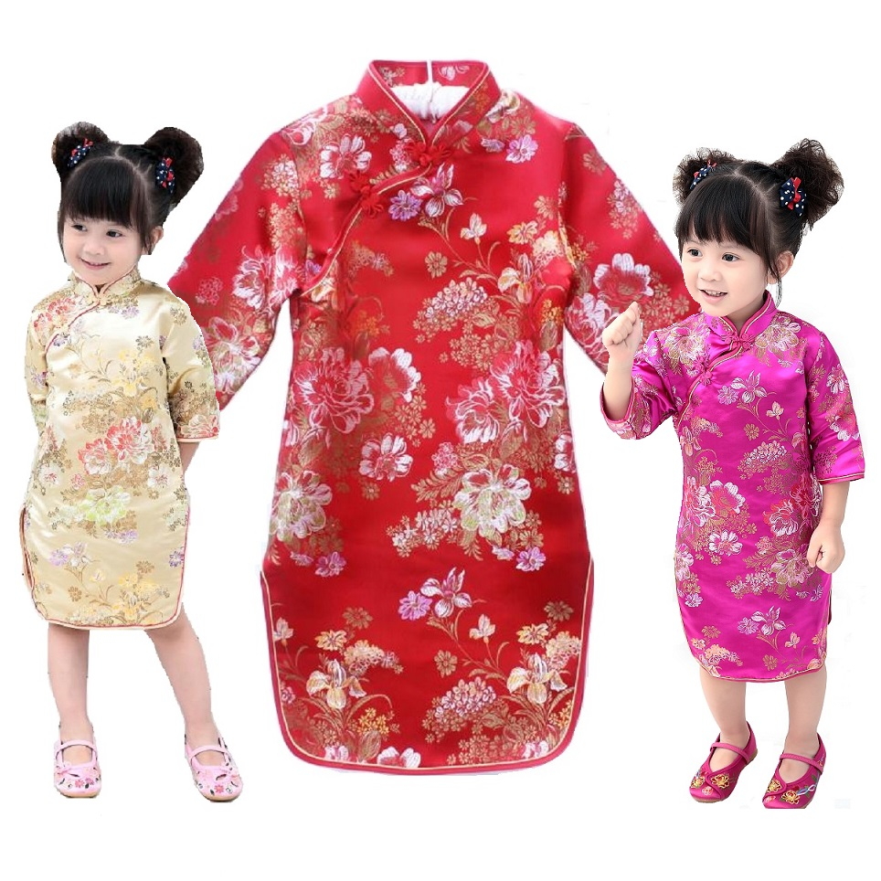 Peony Rose Baby Girls Qipao Dress 2018 Chinese Spring Festival Tribute Silk Children Chipao Cheongsam Girl Clothes Jumper Floral