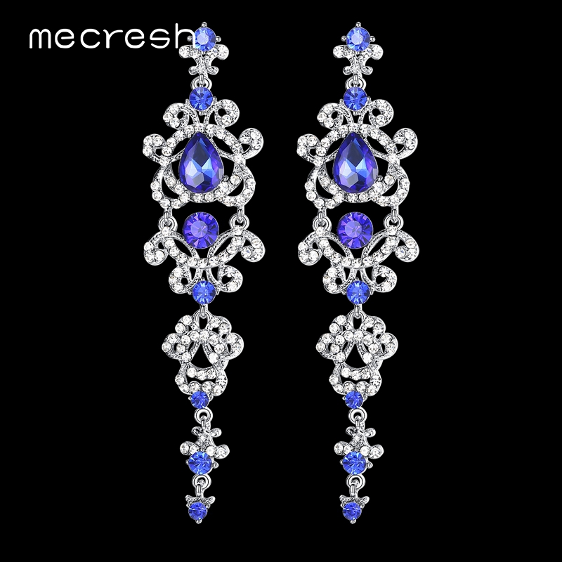 Mecresh Azul / Color Plata Araña de Cristal Pendientes Largos para Las Mujeres Rhinestone Pendientes Colgantes Joyería de Novia de Boda EH421