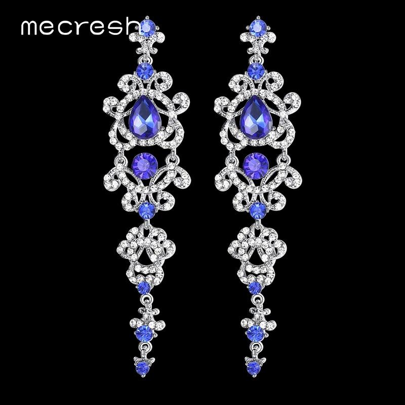 Mecresh כחול / כסף צבע נברשת קריסטל עגילים ארוכים עבור נשים רינגסטון תלוי עגילים כלה חתונה תכשיטים EH421