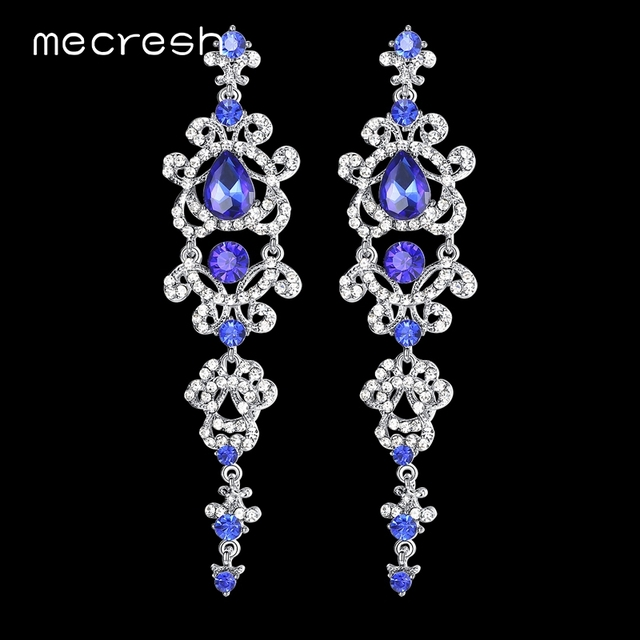Mecresh Blue Silver Color Chandelier Crystal Long Earrings For Women Rhinestone Hanging Bridal Wedding
