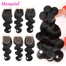 Mesariel Body Wave Bundles With Closure Brazilian Hair Weave Bundles Hair Extension Non-remy Human Hair Bundles With Closure(China)