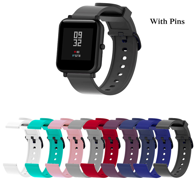 Silicone Sport Wrist Strap for xiaomi Huami amazfit Bip Smart Watch Strap 20mm Replacement Band Bracelet Smart Accessories-in Smart Accessories from Consumer Electronics