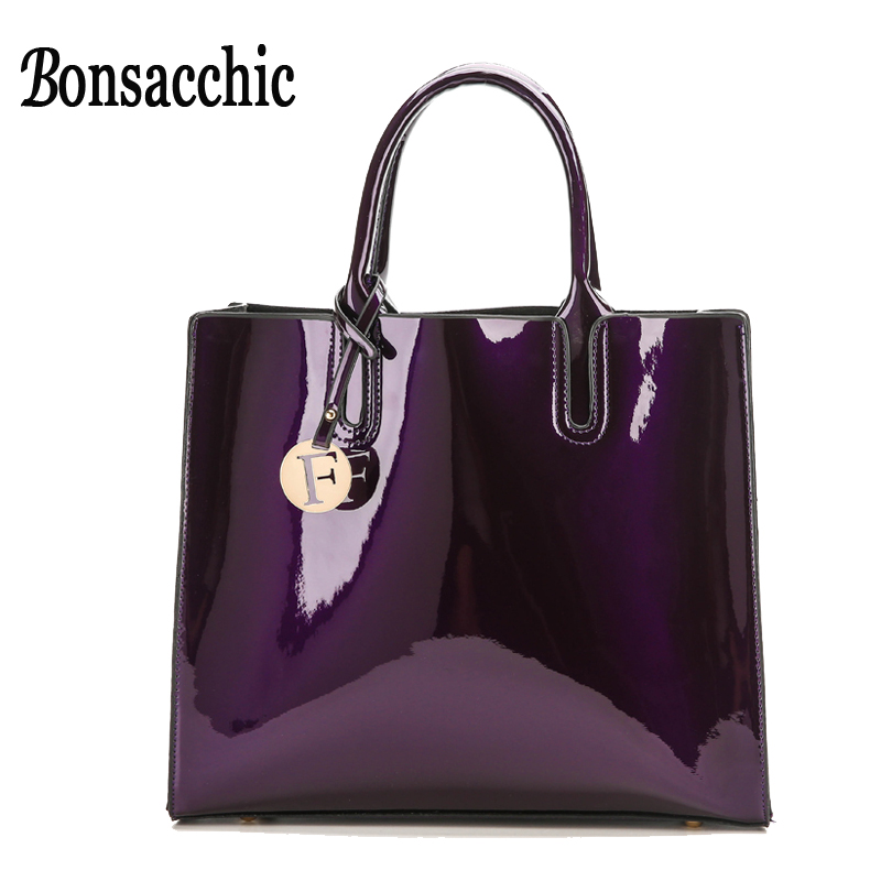 Bonsacchic Lacquered Bag Women Leather Handbags Fashion Patent Leather Tote Bag for Women Shoulder Bag Black Handbag for Summer 2016 fashion spring and summer crocodile pattern japanned leather patent leather handbag one shoulder cross body bag for women