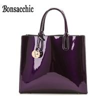 Bonsacchic Lacquered Bag Women Leather Handbags Fashion Patent Leather Tote Bag for Women Shoulder Bag Black Handbag for Summer