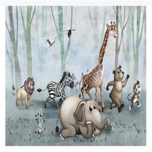 цена на Custom wallpaper hand-painted forest animals background wall decoration painting high-grade waterproof material