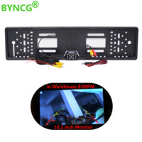 BYNCG 2018 New Universal Waterproof Europe License Plate Frame With 170 Degree Wide Viewing Angle Rear
