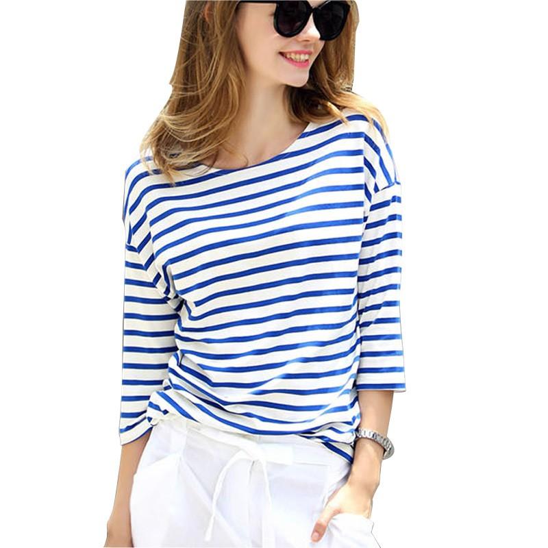 2018 Women Summer Stripe Loose T shirt Round Neck 3/4 Sleeve Striped T-
