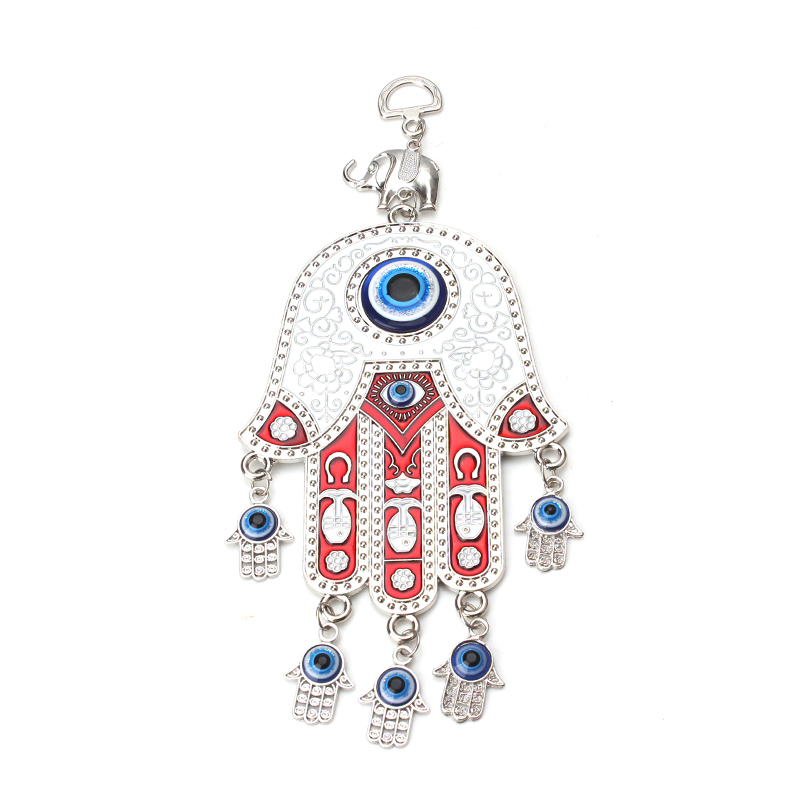 Evil eye wall hanging Turkey Evil Eye Beads With Hamsa Hand Car Keychain Blue Evil Eye Tassel Charm Wall Hanging Jewel