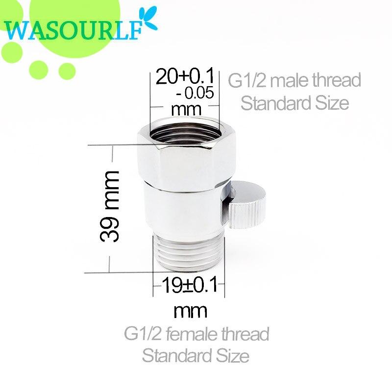 WASOURLF G1/2 shower control stop water valve button hand hold shower head switch adjustable brass chrome lock