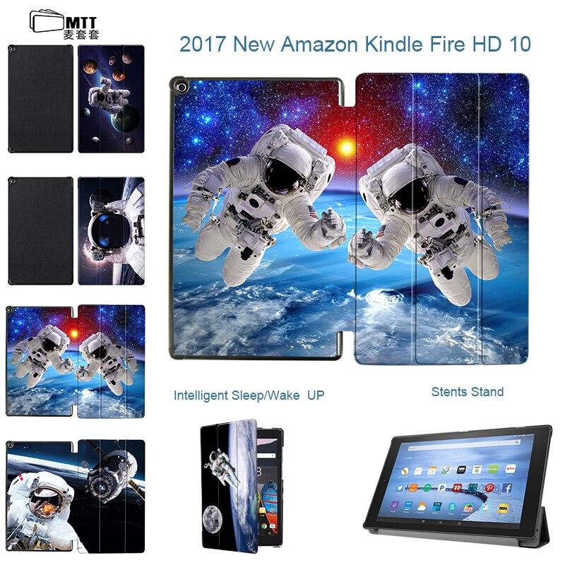 Mtt印刷宇宙飛行士puレザーケースカバーamazonのkindleすべての新しい火災hd 10 2017ケースフリップスマートスタンドシェルスキンfundas