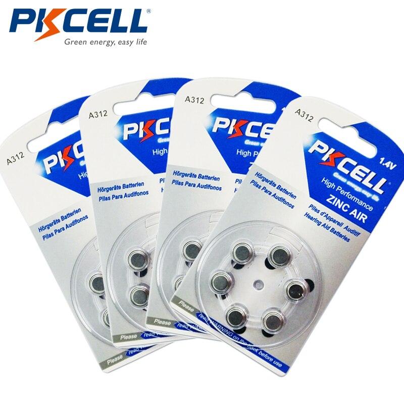 24 шт./4 карты PKCELL za312 слуховой аппарат Батареи a312 312a za312 <font><b>312</b></font> <font><b>pr41</b></font> S312 цинк Air Батарея