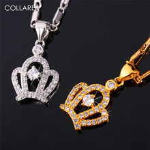 Collare Luxury Crown Necklaces   Pendants With AAA Cubic Zirconia Gold Silver  Color Fashion Jewelry Necklaces Women P142 3a77e9b9449e