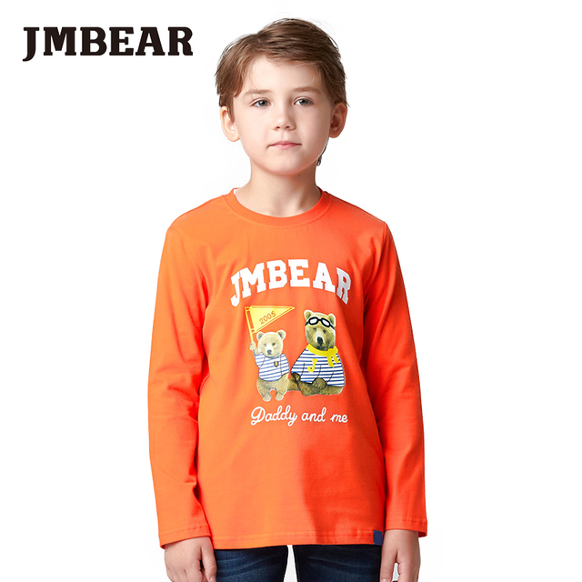JMBEAR boys T-shirt long sleeve Kids cotton T-shirt children Tops Clothing casual boys clothing autumn/spring 2016 new