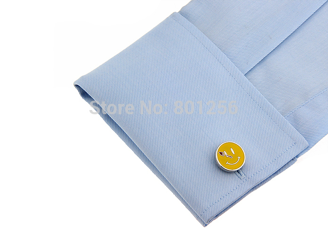 Igame Factory Price Cuff Links Yellow Color Painting Brass Material