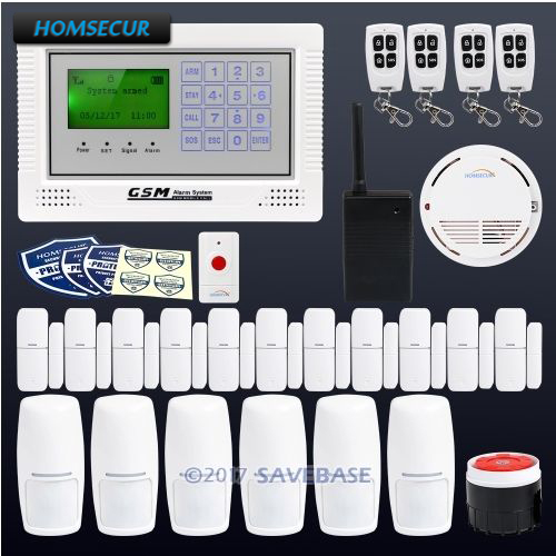 HOMSECUR App Controlled Wireless GSM LCD Home House Alarm System with Signal Booster+6*PIR+Door Sensor
