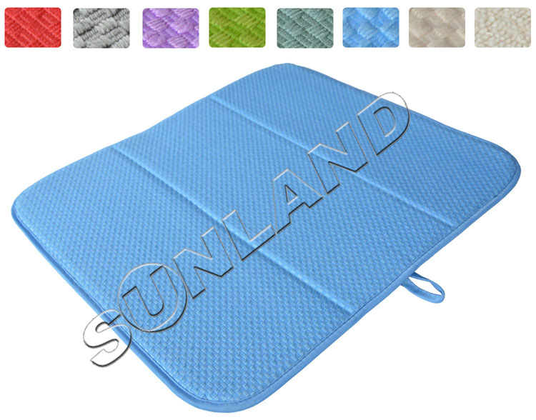 High Quality 16inch x 18inches Waffle Weave Dish Drying Mat For Kitchen Microfiber Cushion Pad XL - Blue
