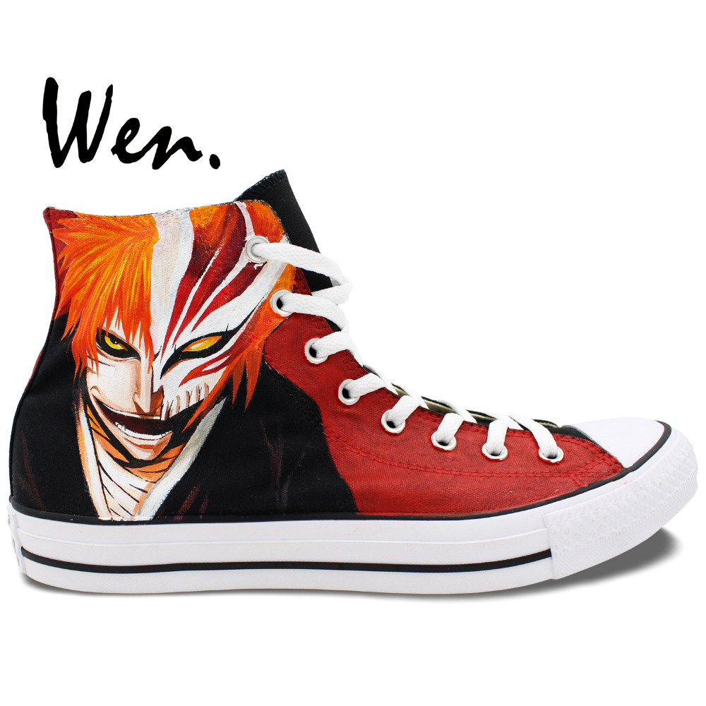 Wen Anime Hand Painted Canvas font b Shoes b font Design Custom Bleach High Top font