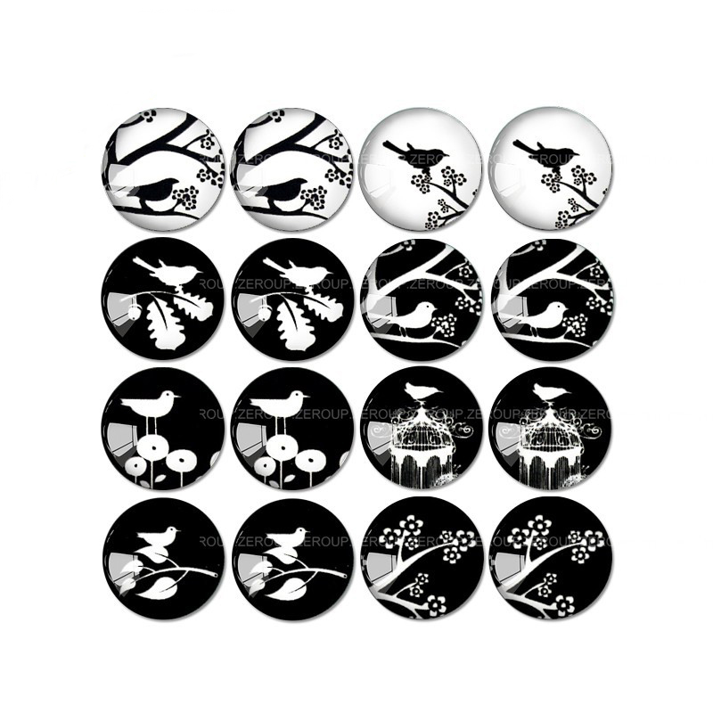 ZEROUP 16 шт. круглый Стекло кабошон кошка и птица фотографии смешанный узор Fit База серьги установка для ювелирных изделий Flatback TP-034-ER-3