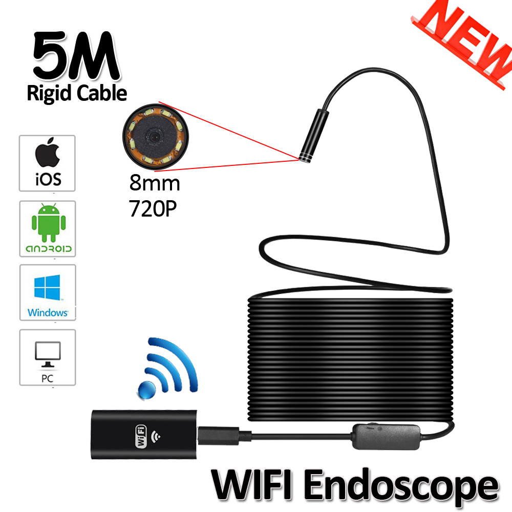HD720P 8mm 5M Snake USB Flexible Hard Wire WIFI Iphone Endodoscope 2MP Camera Android Pipe Inspection Endoscope 8LED USB Camera 2017 new 8led 7m hard flexible snake usb wifi android ios iphone endoscope camera iphone borecope pipe inspection hd720p camera