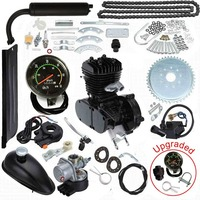 Upgraded 80cc 2 Stroke Motorized Bicycle Gas Engine Motor Kit with Speedometer Black Low Noise Low Vibration Heavy Duty Metal