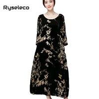 Vrouwen Vintage Chinese Stijl Bloemen Vlinder Prints Fluwelen 3/4 Mouwen Losse Lange Jurken Vrouwelijke Plus size Casual Maxi Vestidos