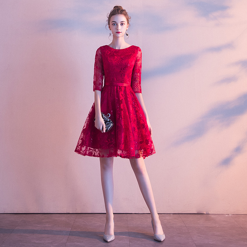 2019 Cocktail Dresses Elegant Formal Party Dress A-Line O-Neck lace Women Short Vestidos Sexy Women Homecoming Dresses LF252