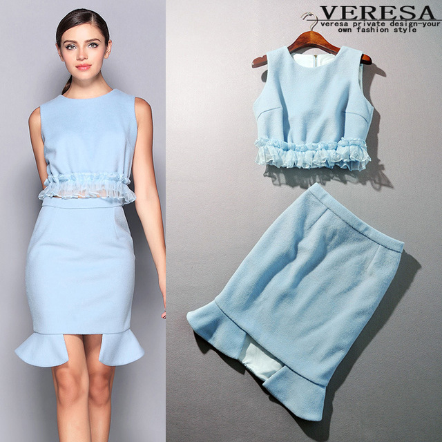 Aliexpress.com : Buy Blue/White Skirt And Top Sets Formal Women ...