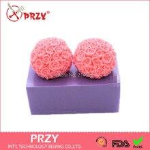 Valentinstag 3D rosen hand gebackene kuchen ball silikonformen Kuchen dekoration form kuchenform Handgemachte seifenform kerze