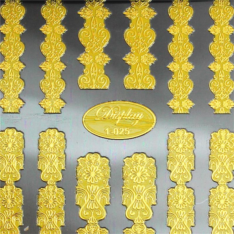 Alta calidad diseños mixtos 3d oro Nail Art Stickers calcomanías - Arte de uñas