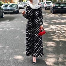 Мусульманские Длинные платья Черно белые в горошек кружевное