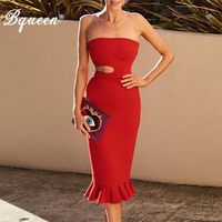 Bqueen Women Bodycon Bandage Hollow Out Dress Vestidos Verano Red Strapless Clubwears Celebrity Evening Party Dresse 2018 Summer