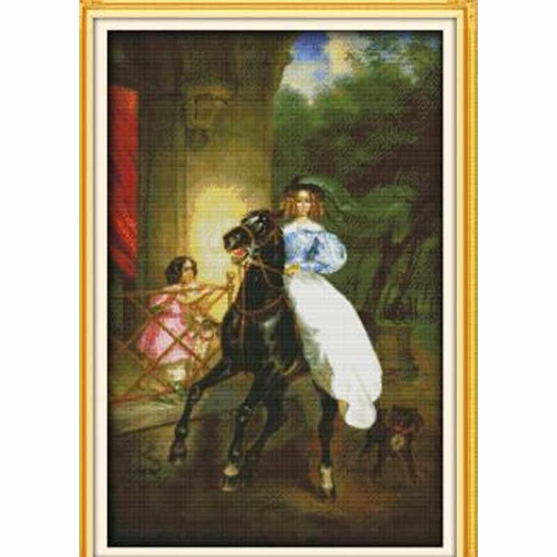 Верховая езда женщина домашний декор картины Счетный напечатанный на холсте DMC 11CT 14CT наборы для вышивки крестиком наборы для рукоделия